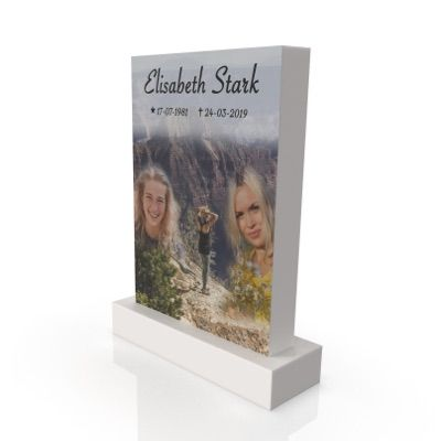 peaceyard headstone model ada in stone color glacier white with standard base and customer graphics