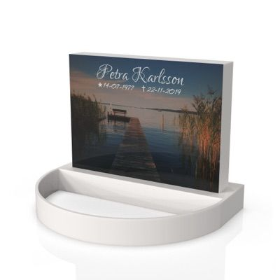 peaceyard headstone model alice in stone color glacier white with standard base, round planter and customer graphics