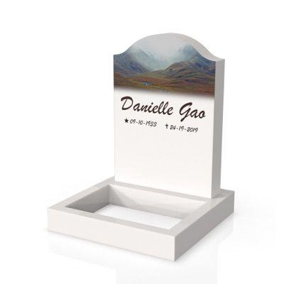 peaceyard headstone model cora in stone color glacier white with standard base, square planter and customer graphics
