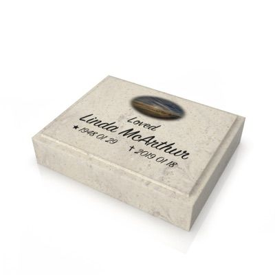 peaceyard headstone model ida in stone color clam shell and customer graphics