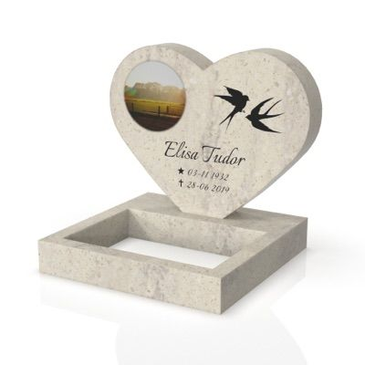 peaceyard headstone model maida in stone color clamshell with standard base, square planter and customer graphics