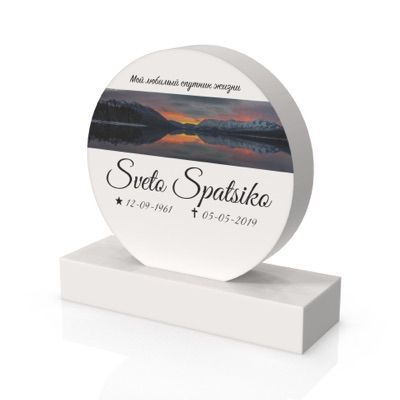 peaceyard headstone model tillie in stone color glacier white with standard base and customer graphics