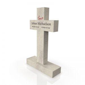 Inspirationsbild på Peaceyard® gravsten modell Evie i färgen Clamshell med standard sockel