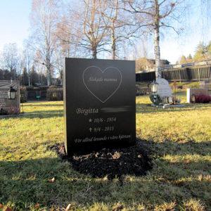 picture of installed peaceyard gravestone, custom model ada in deep night sky color