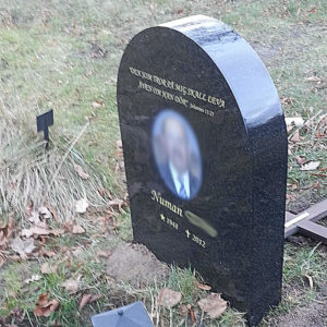 picture of installed peaceyard gravestone, model eliza in deep night sky color