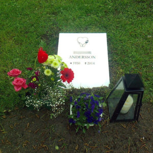 picture of installed peaceyard horizontal gravestone, model flora in glacier white color