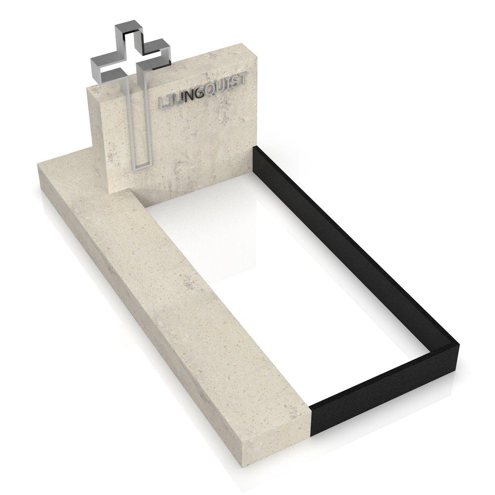 Peaceyard gravestone model Elenora with custom base frame
