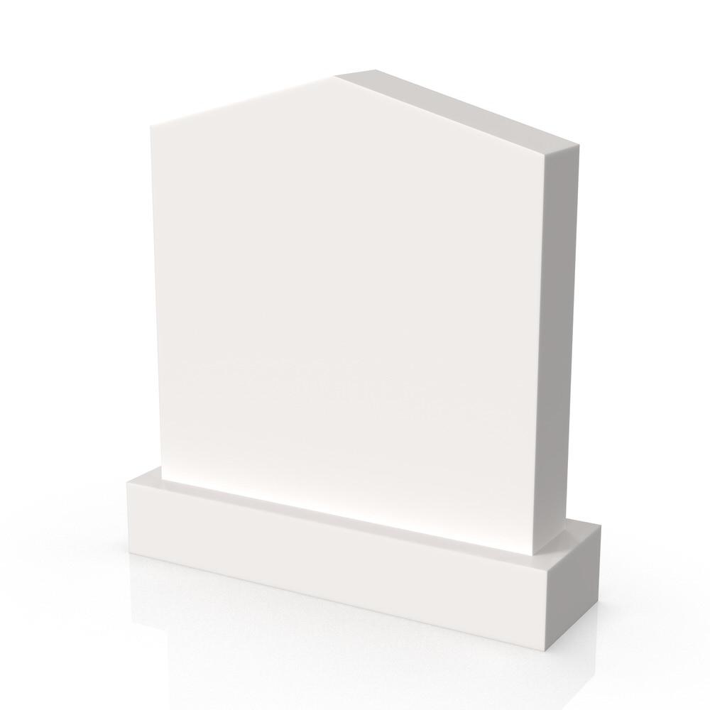 Peaceyard gravestone model Oriana with standard base in white